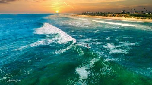 """""""Last ride in"""" Local surfer in Huntington Beach, CA"""