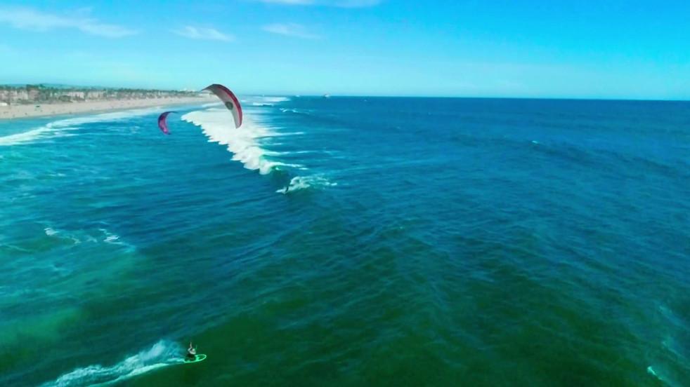 Kitesurfing in Huntington Beach - Aerial Drone Video