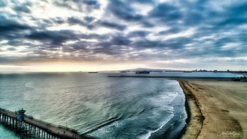 Dramatic Aerial Photograph of sunset at the Seal Beach Pier