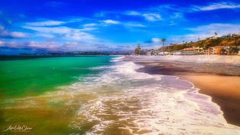Doheny beach, Dana Point, California shoreline aerial drone photograph