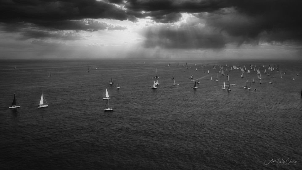 Early morning yacht race in Newport Beach, California aerial drone photograph