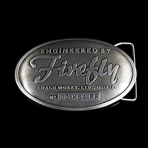 Engineered By Firefly Pewter Belt Buckle