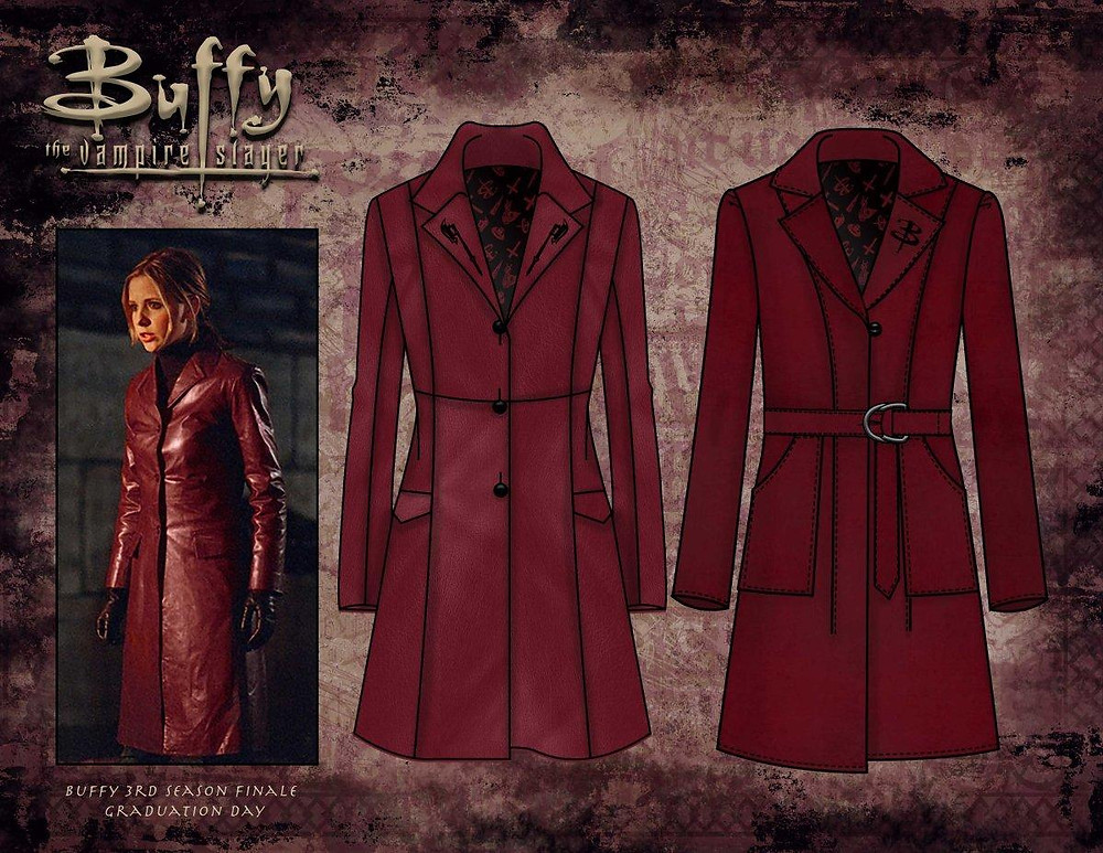 Hot Topic Buffy 20th Anniversary Red Leather Trenchcoat