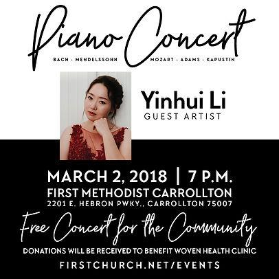 Dr. Stacy Li, Dr. Yinhui Li, Piano Concert, Piano instructor, Pianist
