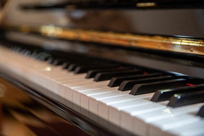 Piano keys close up. Musical instrument.