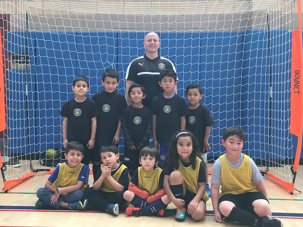 Kids with Soccer coach