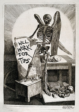 """Reaper holding sign - """"will work for tips"""""""