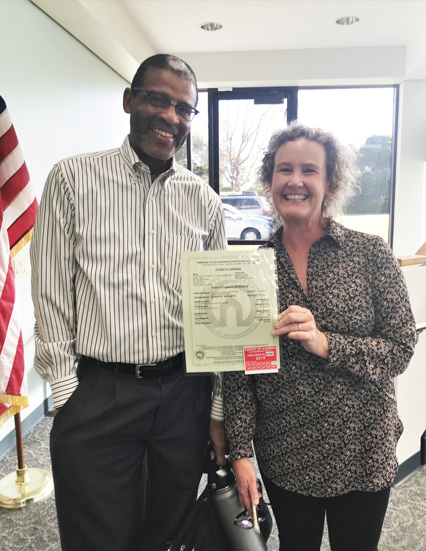 Chief Browder and Valerie with permit.jp
