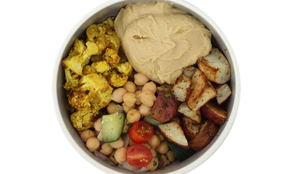 Chickpea with cauliflower and potato bowl