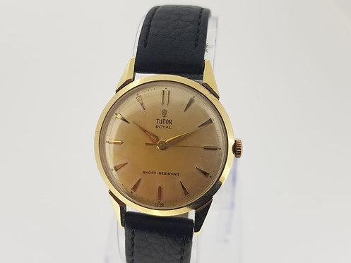 Tudor 9 crt Gold Tudor Royal shock Resisting  silver patina dial