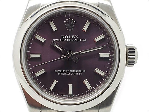 Rolex Ladies Oyster Perpetual 176200  Front Grape dial
