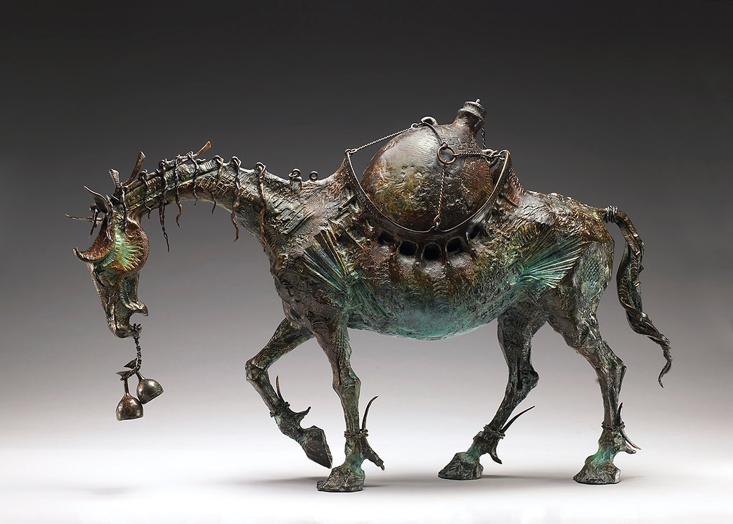 Bronze horse with a wine amphora incorporated into it's body.