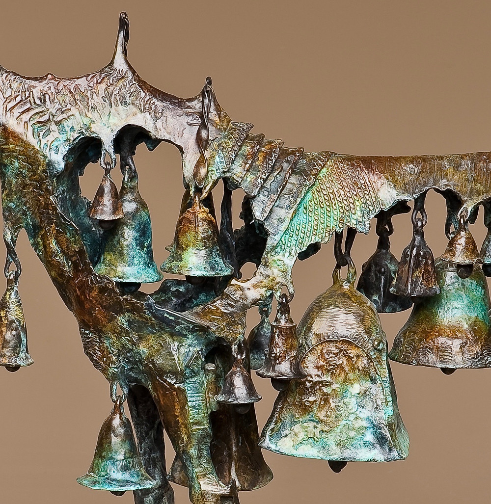 horse made up of bells
