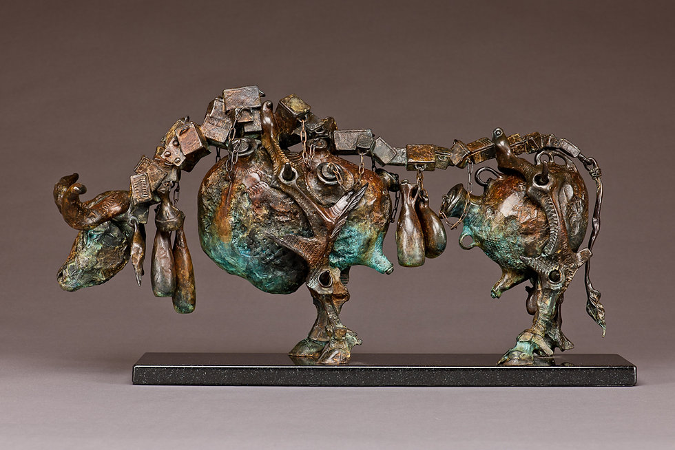 Bronze sculpture of a bull consisting of urns and vessels for storing wealth.