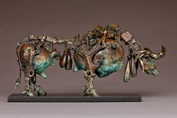 Bronze bull sculpture put together with vessels.