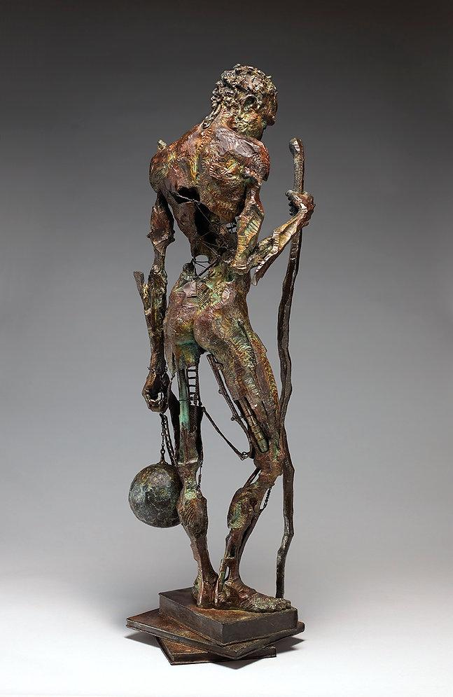 Bronze sculpture of a modern-day Atlas.