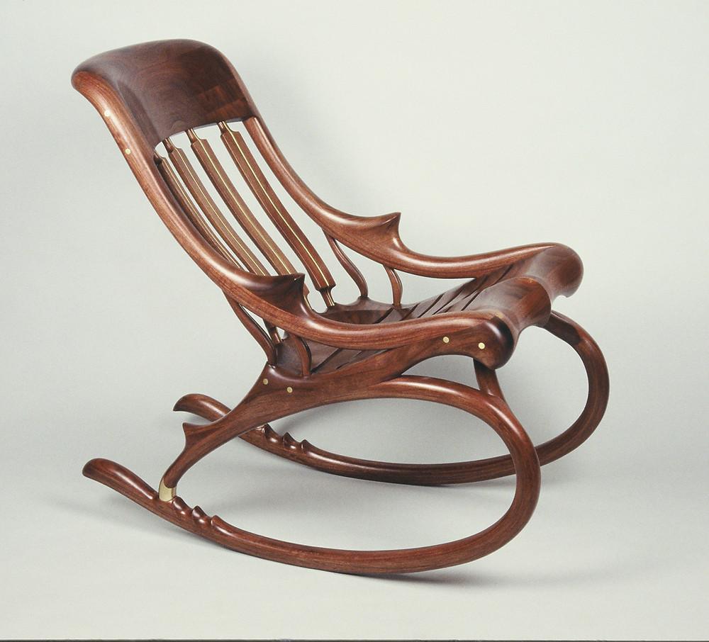 walnut & brass rocking chair