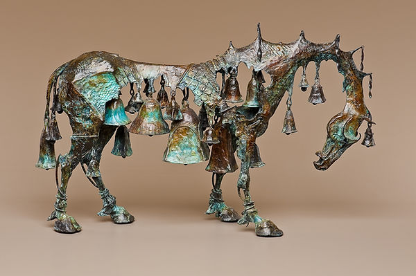 Bronze horse sculpture that incorporates various sized bells into the body of the horse.