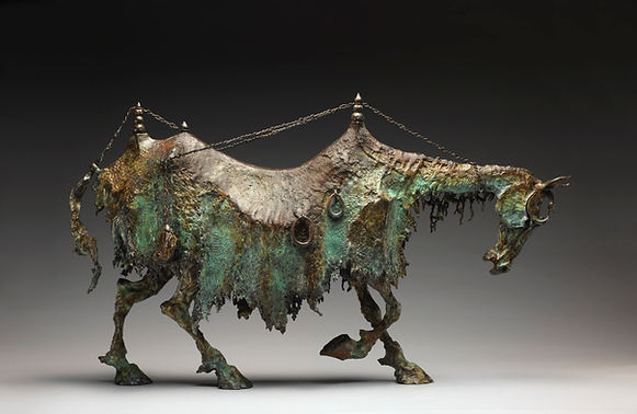 Bronze horse comprised of weighted tent poles and drapery.