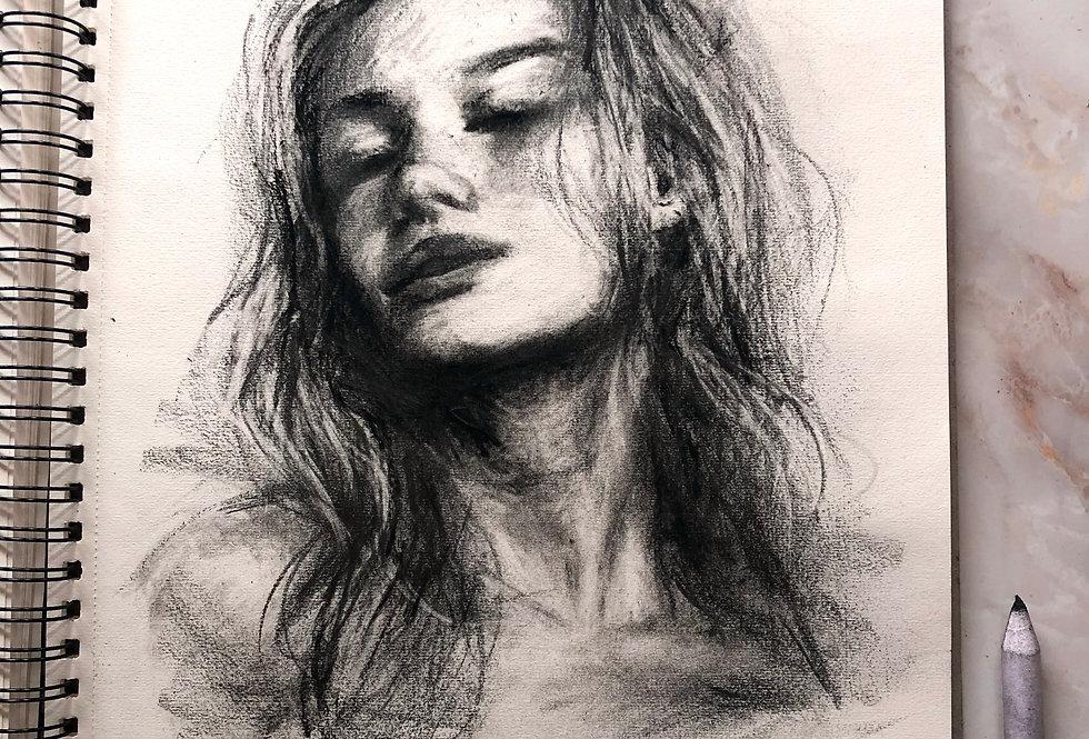 """charcoal study"" original sketch"