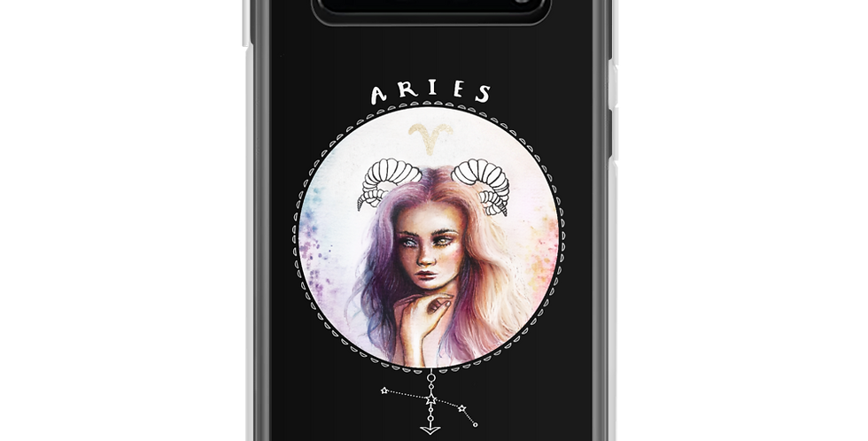 """aries"" black zodiac sign samsung case"
