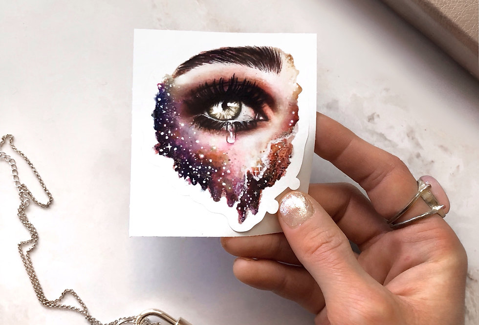"""glance into galaxy"" sticker"
