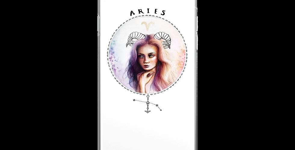 """aries"" white iphone case"