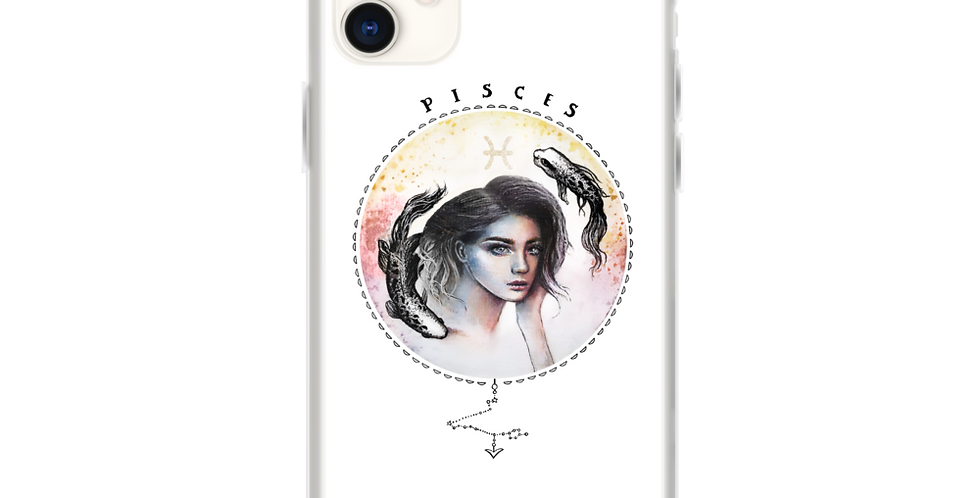 """pisces"" white zodiac sign iphone case"