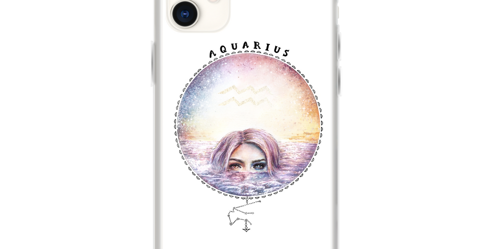 """aquarius"" white iphone case"