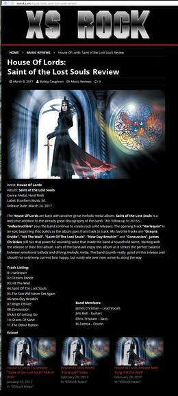 XS Rock Review on Saint Of Lost Souls Album