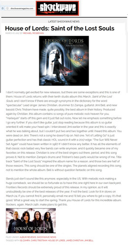 SHOCKWAVE Magazine Review of 'Saint Of Lost Souls' Album from HOL
