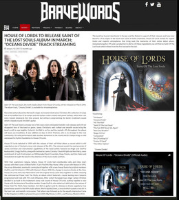 BRAVEWORDS - Review of Saints Of Lost Souls CD by House Of Lords