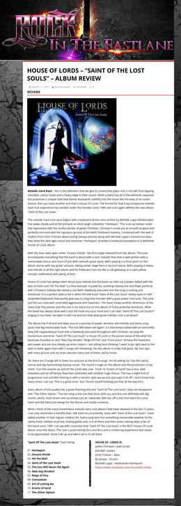 Rock In The Fast Lane REVIEW of Saint of Lost Souls