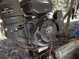14 HP Kohler, electric start, remote fuel, 126 pounds, light, mud motor, 3 year commercial warranty, 429 cc displacement, 22-24 mph, sealed lower unit, cnc machined, water jetted, aluminum, stainless steel throttle cable, stand or sit operation, 4 bearing drive system, grease fittings, adjustable manual trim, stainless propellar, rubber mounted handle bar, less vibration, adjustable handle bar