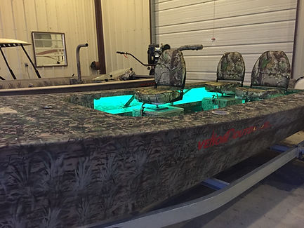 """Venom Outdoor Custom 16/48 boat, all welded .125"""" hull, hunt deck, tapered chine, shallow draft, better turning, bilge pump, shark eye navigation lights, lighted switch panel, dual battery trays, battery, 6 gallon fuel tank, trolling motor mount, pedestal seat mount, hydroturf, grab bar, seating for four, moveable bucket seats, storage"""