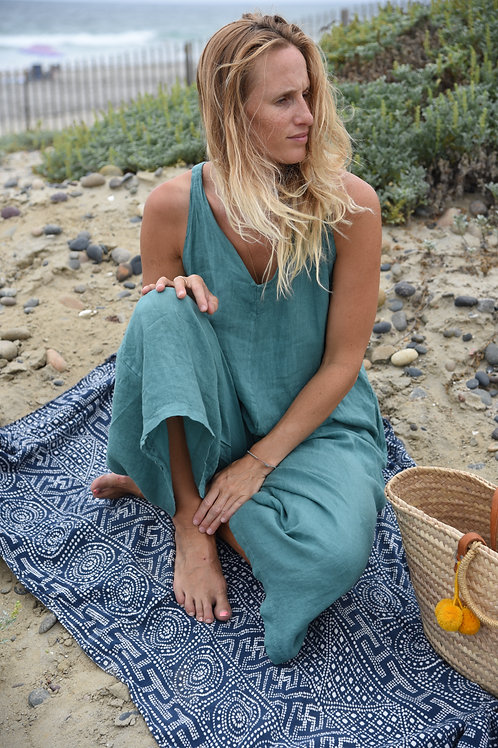 The LINEN Go To Jumpsuit-Emerald