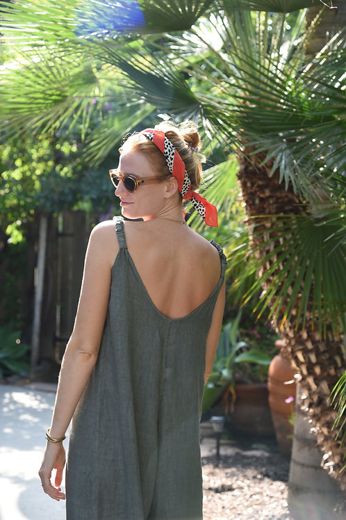The LINEN Everyday Jumpsuit-Olive