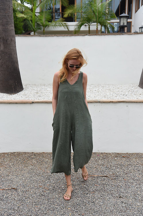 The LINEN Go To Jumpsuit-Olive