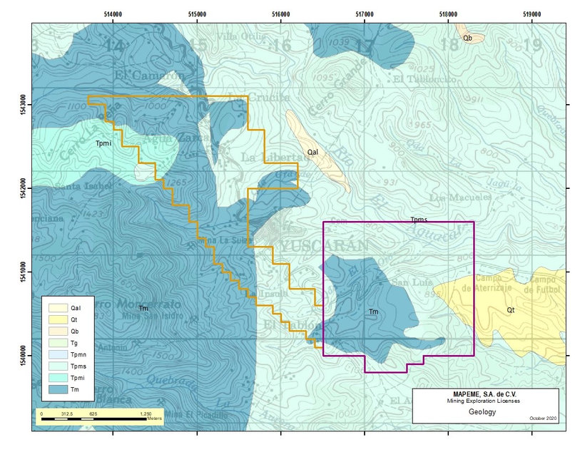 Yuscaran Area Geological Map