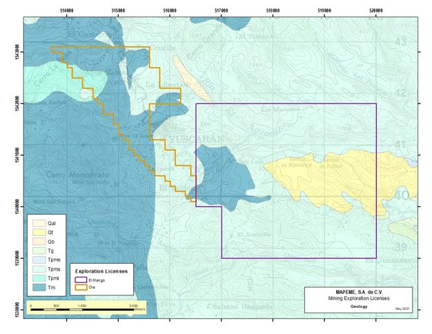 Yuscarán Area Geological Map