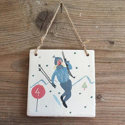 """Petit carreau à suspendre """"Petit carreau """"Martine va skier"""""""