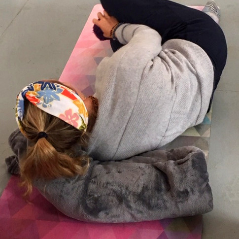 Restorative Yoga position with props