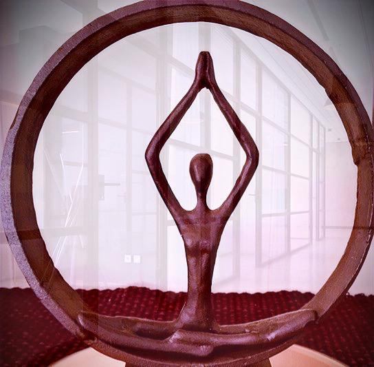 bronze yoga figure