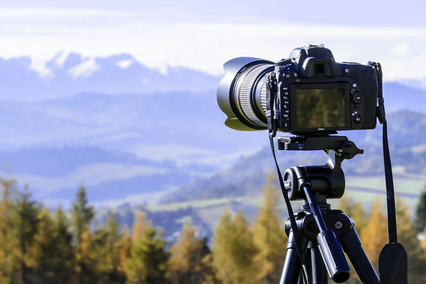 landscape photography, camera, mountains, fields