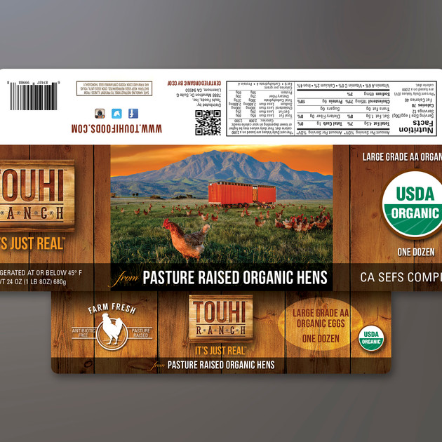 TOUHI RANCH EGG PACKAGING LABEL