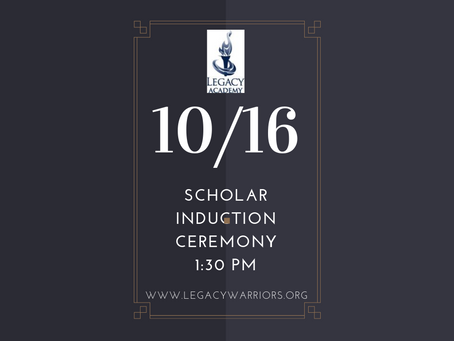 Scholar Induction Ceremony 1:30pm October 16th
