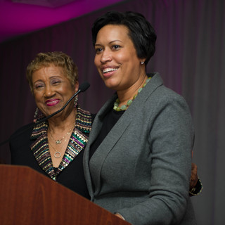 Dr. Janette Hoston Harris, founder of the DC Hall of Fame, with Mayor Muriel Bowser at the 2018 Awards GALA