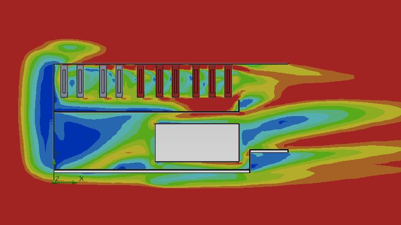 Distribution de température autour des équipements en terrasse d'un DataCenter