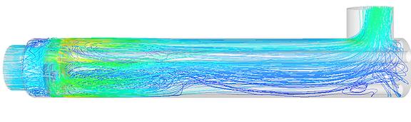 Lignes de courant dans une canalisation de décontamination d'eau par radiation UV obtenues par simulation hydraulique