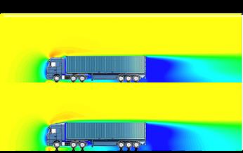 Réduction de la résistance à l'avancement d'un camion par un déflecteur cabine